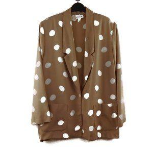 Vintage Polka Dot Silky Blazer 18 Beige White Thin